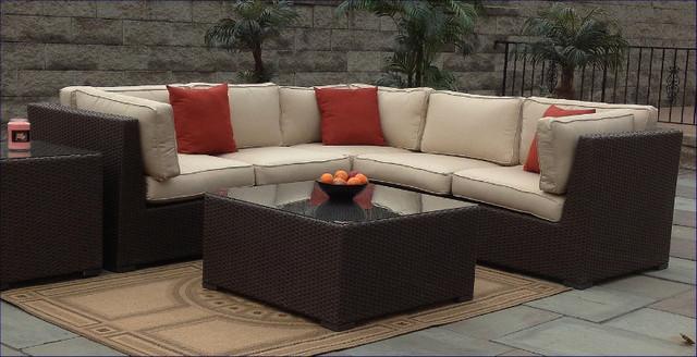 Outdoor wicker sectional sunbrella contemporary for Outdoor sectional sofa sunbrella