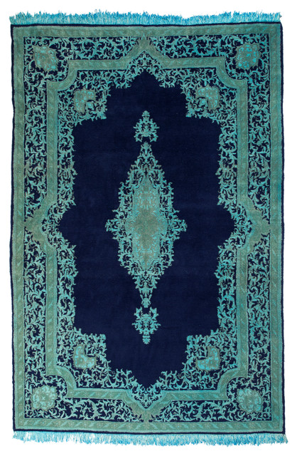 5 8 overdyed persian kerman navy teal blue rug woh 1355 for Navy and teal rug
