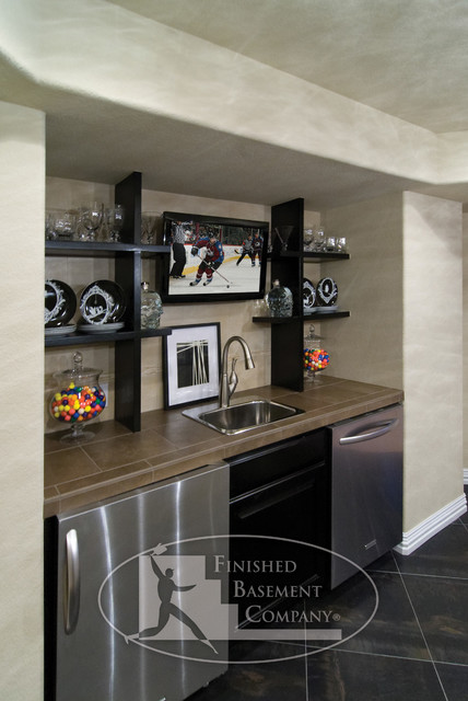 Basement Wet Bar Modern Basement Denver By Finished Basement Company