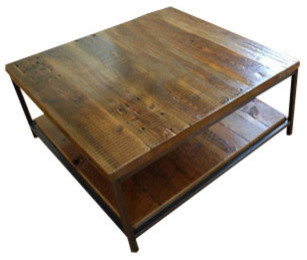 "Sustainable Urban Wood and Steel Coffee Table - Standard, 48"" x 24"" contemporary-coffee-tables"