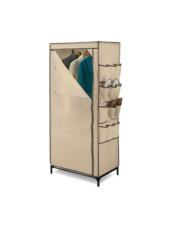 """27In Storage Closet With Shoe Organizer - Honey-Can-Do WRD-01270 27"""" Wide Portable Cloth Storage Wardrobe, Khaki/Brown Trim. A great choice in economy storage closets, this handy wardrobe measures 27-inches wide and works great for extra hanging space or seasonal storage. The sturdy steel hanging rod will hold all of your dresses, shirts, pants and other items giving you an excuse to shop for more!  The breathable, lightweight fabric completely surrounds your garments, protecting them from dust and damage, and offers the convenience of a zippered, full length door for easy access. Integrated 12-pocket exterior storage is perfect for sandals and accessories. Some assembly required."""