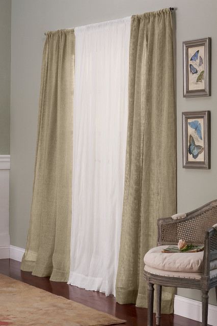 Open Weave Linen Drapery Panel Traditional Curtains