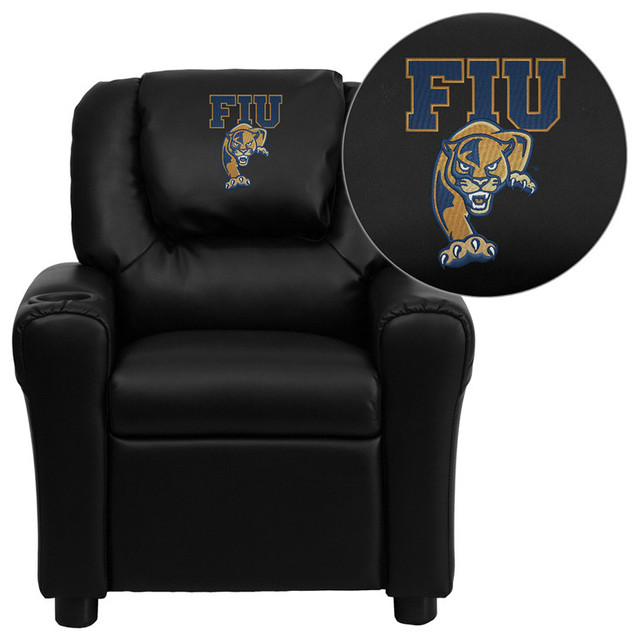 Florida International University Panthers Embroidered Black Vinyl Kids Recliner contemporary-kids-chairs