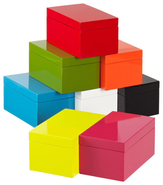 Medium Lacquered Rectangular Box modern storage boxes