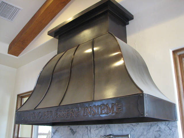 Copper Range Hood #25, A with repouse border traditional-kitchen