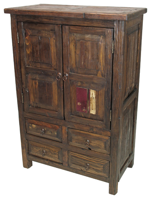 Small Rustic Old Wood Armoire - 2 Doors & 4 Drawers - Rustic - Armoires And Wardrobes - other ...