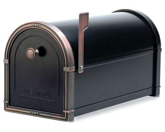 Architectural Mailboxes - Coronado Post-Mount Mailbox, Black With Antique Copper Accents - Priority post: If you're looking for a durable and unusually stylish mailbox, this one delivers. It's created of heavy galvanized steel for strength and has solid brass accents for a distinctive look.
