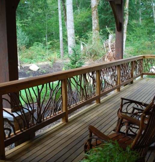 Rustic Deck Railings http://www.houzz.com/photos/238770/Rustic-Deck-Railing-traditional-outdoor-products-other-metro