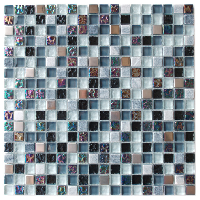 Glass And Stone Mixed Mosaic Tile contemporary-tile