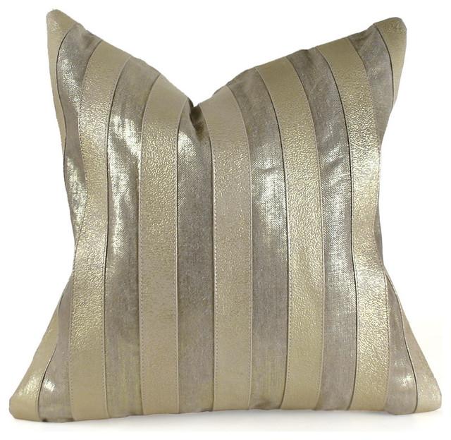 "Metallic Stripe Pillow, Gold, 18"" x 18"" contemporary-decorative-pillows"