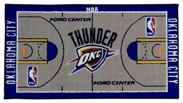 Http Www Houzz Com Photos 11346537 Nba Oklahoma City Thunder Rug Basketball Runner Carpet Contemporary Rugs