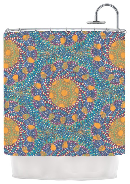 Miranda Mol Prismatic Orange Orange Blue Abstract Shower Curtain