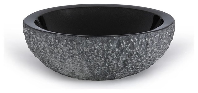 Xylem grve172cbkr round stone vessel sink in black granite contemporary bathroom sinks by for Black granite vessel bathroom sinks