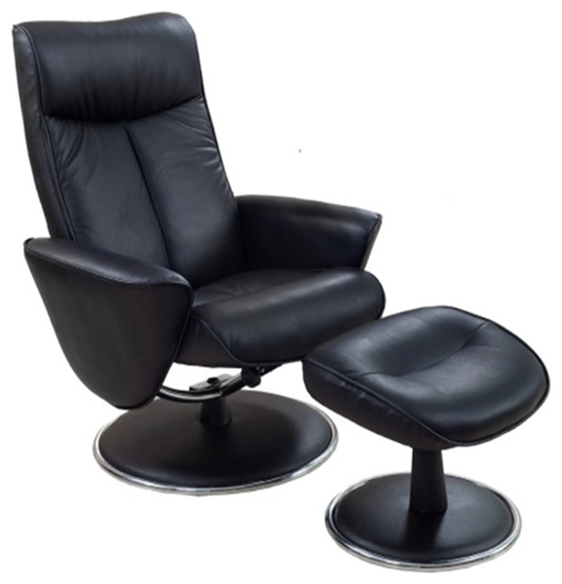 Mac Motion Chairs Black Bonded Leather Swivel Recliner W