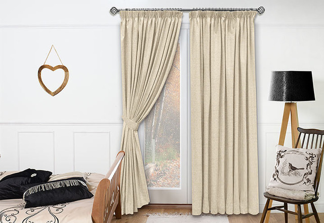Neutral Bedroom Draperies Traditional By