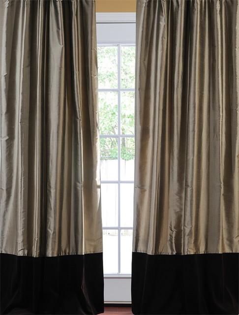 banded silver grey thai silk with kona brown velvet curtain victorian curtains san. Black Bedroom Furniture Sets. Home Design Ideas