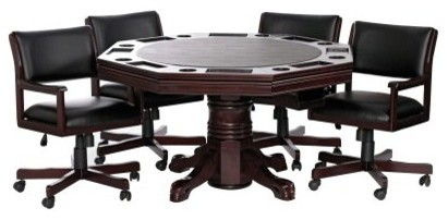 Level Best 54 in. 3 in 1 Game Table Set with 4 Rocker Swivel Chairs modern-rocking-chairs