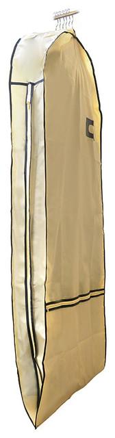 Florida Brands Suit Length Garment Bag in Beige/Gold contemporary-closet-storage