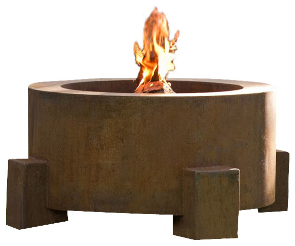Round Weathering Steel Fire Pit, Round Fire Pit for Logs/Natural Gas contemporary-fire-pits