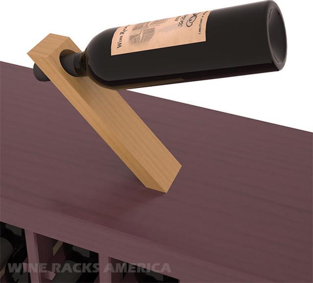 Magic Wine Bottle Balancer in Pine with Oak Stain + Satin Finish traditional-wine-racks