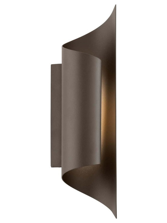 """Troy Lighting Kinetic LED 15"""" Outdoor Sconce in Bronze - Troy Lighting presents the Kinetic Collection's 8-Light outdoor wall sconce in a Bronze finish. This fixture is constructed from Solid Aluminum and requires a LED bulb. Dimensions: 15"""" high by 4.375"""" wide; extends 4"""" from surface."""