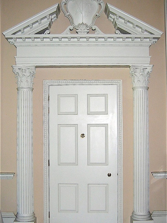 Doors - Agrell Architectural Carving - Door with split pediment hand carved in wood - Fulham Palace