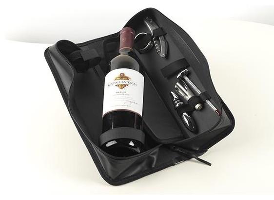 Zipper Case 5-Piece Wine Accessory Set traditional-barware