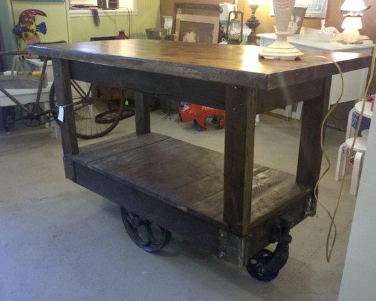 Custom made kitchen island using a factory cart - Factory cart island