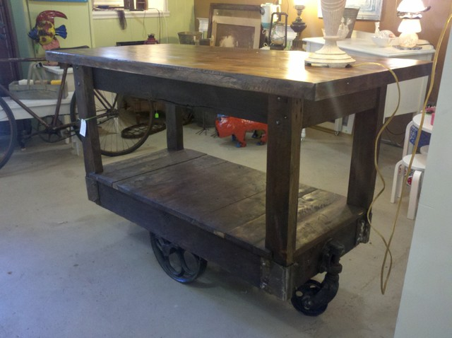 Custom made kitchen island using a factory cart - eclectic