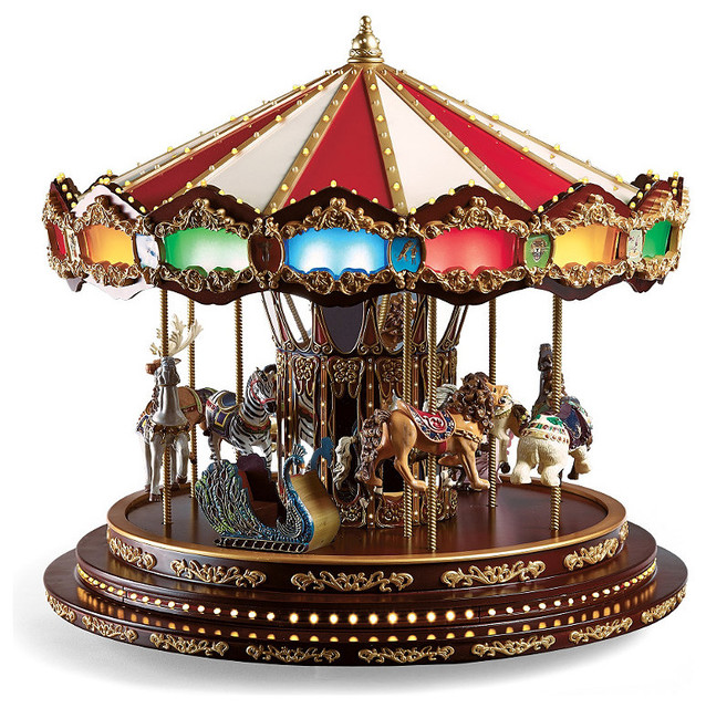 Deluxe Christmas Carousel - Frontgate - Christmas Decorations traditional-holiday-decorations