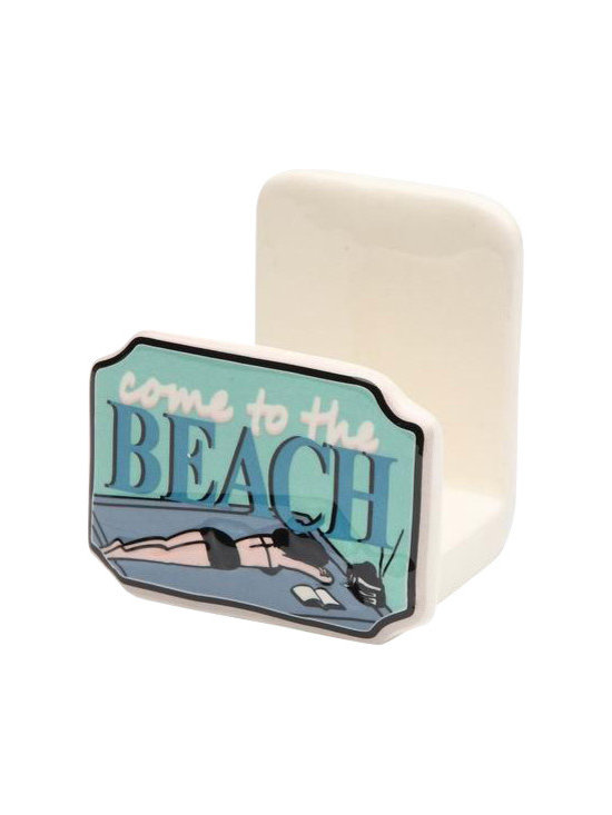 """ATD - 3 1/8 Inch """"Come to the Beach"""" Blue and White Napkin Holder - This gorgeous 3 1/8 Inch """"Come to the Beach"""" Blue and White Napkin Holder has the finest details and highest quality you will find anywhere! 3 1/8 Inch """"Come to the Beach"""" Blue and White Napkin Holder is truly remarkable."""