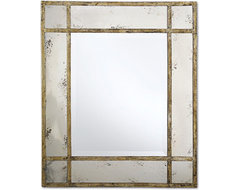 Paris Mansion Antiqued Gold Wall Mirror by Two's Company® traditional-mirrors