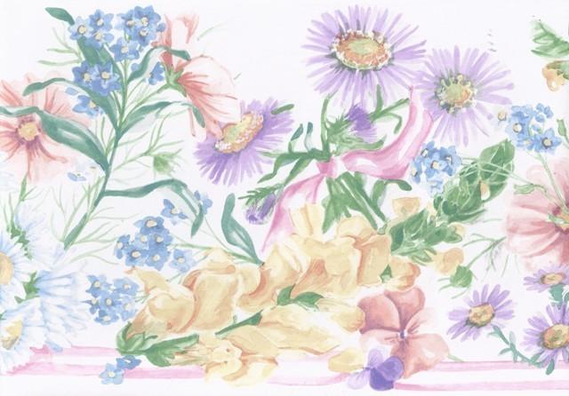 White White Purple Daisies Wallpaper Border  Traditional