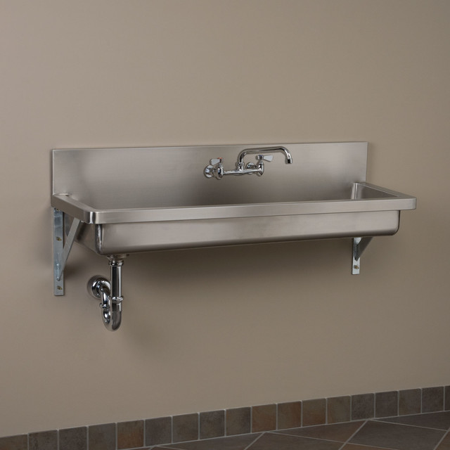 Stainless Industrial Sink : Stainless Steel Wall-Mount Commercial Sink contemporary-kitchen-sinks