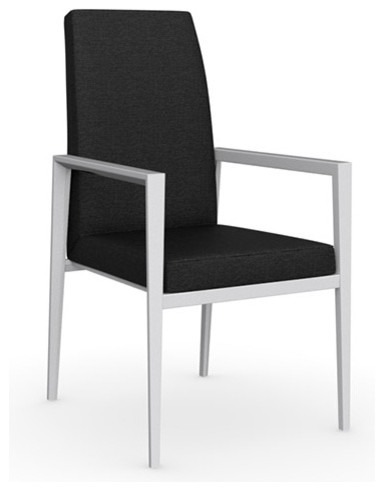 Bess Arm Chair, Matt Optic White Frame, Denver A08 (Anthracite), Set of 2 modern-dining-chairs