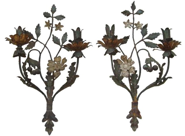 Extremely Rare Pair of Late 18th-Early 19th Century Painted Metal Tole Sconces modern-wall-lighting