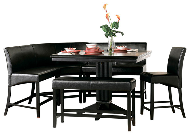 Homelegance papario 6 piece counter dining room set in for Traditional black dining room sets