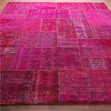 Reclaimed Vintage Patchwork Over-Dyed Rug contemporary rugs
