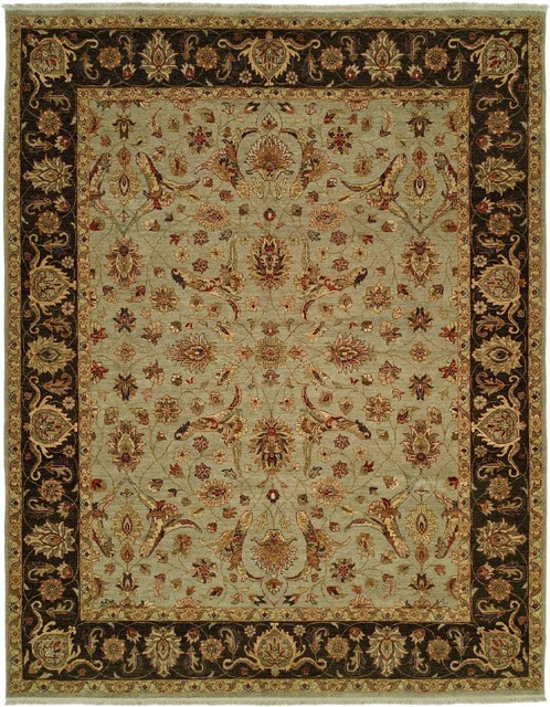 Traditional Royal Zeigler 9'x12' Rectangle Black-Beige Area Rug traditional-rugs