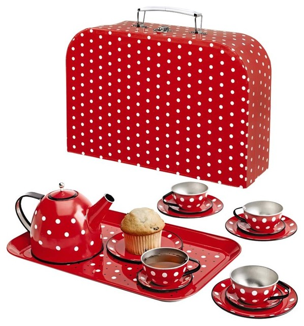 Polka Dot Tin Tea Set modern-kids-toys-and-games