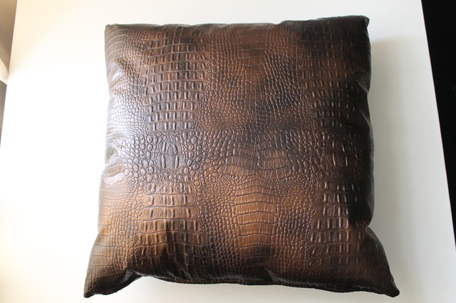 "16"" Alligator Copper Faux Leather Home Decorative Pillow By FFC"