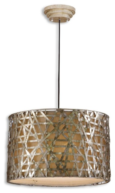 Uttermost Alita Champagne Drum Shade Pendant Light in Silver/Champagne Leaf eclectic-pendant-lighting