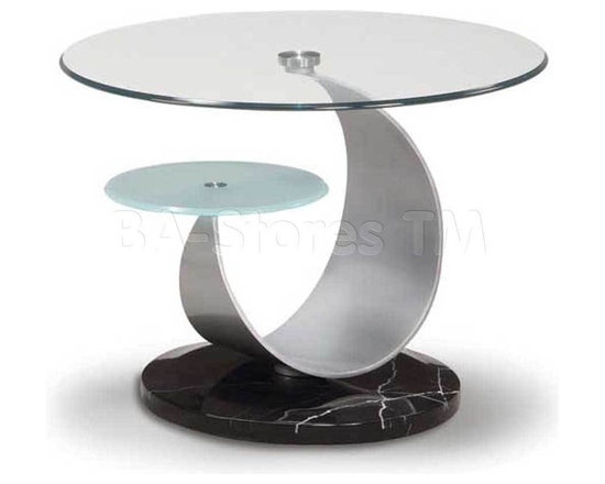 Coffee, Side and End Tables - This stunning Round End Table features ultra stylish design with metallic leaf shaped frame, which is delightful curved and attached to a smaller glass shelf. Everything is made from the best materials to guarantee a quality product. Light and comfortable, useful and wonderfull, durable and compact this end table will serve you for years.