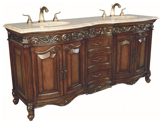 "72"" Provincial Double Sink Vanity - Dark traditional-bathroom-vanities-and-sink-consoles"