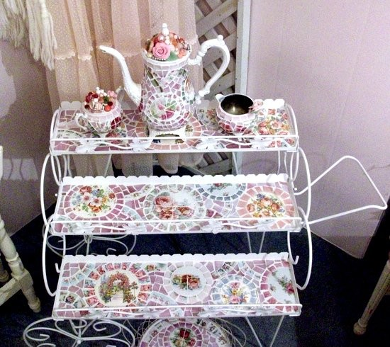 Shabby Vintage White Metal 3 Tier Plant Cart Garden of Roses side-tables-and-end-tables