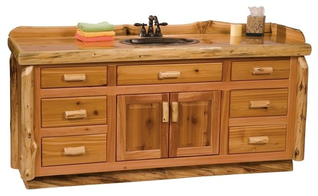 Cedar 6 Ft Log Vanity Liquid Glass Finish W Contemporary Bathroom Vanit