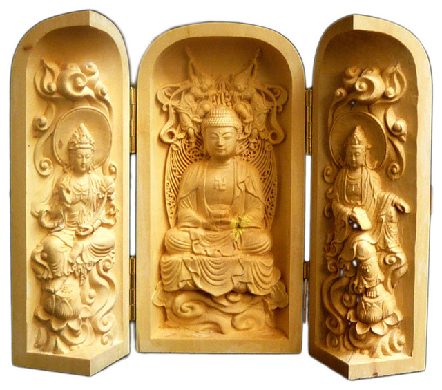 Chinese Folding Wood Carved Buddha Display Figure Hcs603-1 - Asian - Wall Decor - by Golden ...