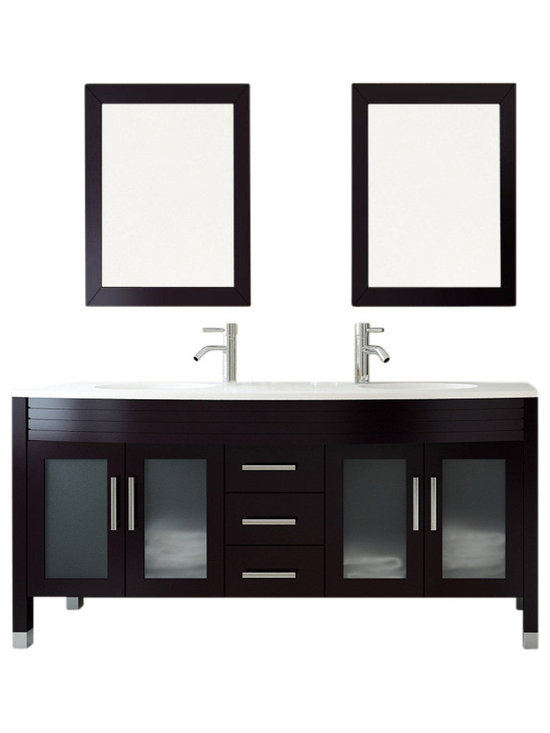 "JWH Imports - 63"" Grand Regent White Double Sink Modern Bathroom Vanity with Phoenix Stone Top - Sleek and modern in design, this double-sink vanity is as impressive to view as it is incredibly functional. The countertop houses two recessed sinks, along with two lower cabinets with frosted-glass doors and a center panel of three sliding doors. Crafted of sturdy natural oak, this vanity comingles sensible storage with impressive aesthetic sensibility"