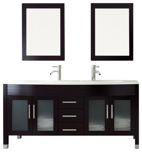 "63"" Grand Regent White Double Sink Modern Bathroom Vanity with Phoenix Stone Top transitional-bathroom-vanities-and-sink-consoles"