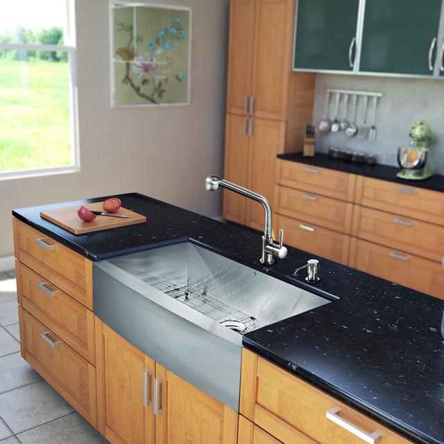 Farmhouse Sink In Modern Kitchen : ... One 36-inch Farmhouse Kitchen Sink and Faucet Set modern-kitchen-sinks